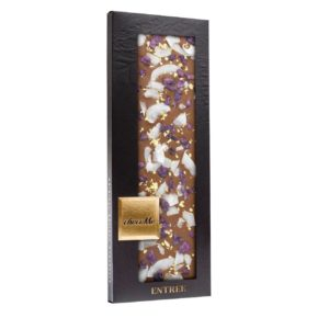 MILK CHOCOLATE WITH VIOLET PETALS AND GOLD FLAKES 110gr